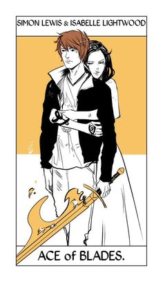 Shadowhunter Tarot Cards, Simon Lewis & Isabelle Lightwood ; art by Cassandra Jean