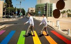Crosswalks around Tel Aviv painted in rainbow colors for Gay Pride  Week