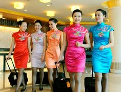 The eternal elegant cheongsam, or qipao as it is called in Mandarin Chinese. The most elegant of all female attire in the world. Beautiful ladies in figure-hugging cheongsam.