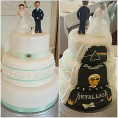 Hidden panel Heavy Metal Cake Wedding Cake including custom Bride and Groom Metallica, Iron Maiden and Pink Floyd