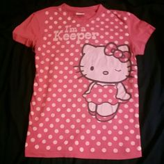 I'm a Keeper Hello Kitty tshirt Red Hello Kitty tshirt. Slight pilling from washes. Shown in last pic. Sanrio Tops Tees - Short Sleeve