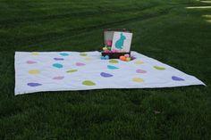 Easter Egg Picnic Blanket by PaintedPlum on Etsy