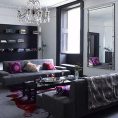 pink and gray room ideas | ... gray sofa, floral paintings and dusky pink accessories complement the