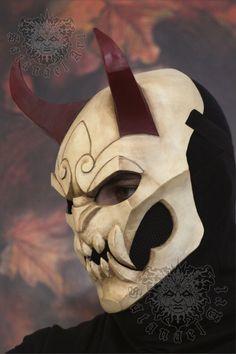LARP Helmet ideas League of Legends: Blood Moon Shen mask - C Oni Mask, Skull Mask, Gladiator Tattoo, Armor Concept, Concept Art, Samurai Tattoo, Mascara Oni, Jhin League Of Legends, Character Inspiration