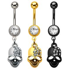 """14g 7/16"""" Press Fit Clear Gem Navel Barbell with Gems Skull Dangle Charm. #BodyVibe #piercing #jewelry #bellyrings"""