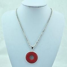 Vintage Antique Silver Turquoise Pendant Necklace(Red)(1 Pc)