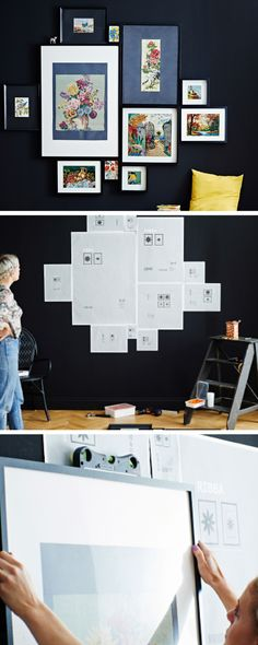Express yourself with a gallery wall! Here's a tip for putting it all together - mark out the space on your wall with the backing paper from the frames. That way you can play around with the format without having to hammer in any nails. Finally, use a spirit level to make sure each frame is straight.