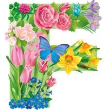 The Letter F ~ Spring Garden Alphabet Alphabet Letters Design, Flower Alphabet, Alphabet And Numbers, Letter Designs, All Flowers, Colorful Flowers, Birthday Logo, Minnie Png, Letter F