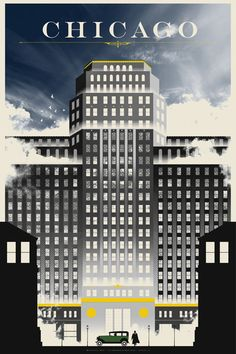 """""""Chicago"""" Travel Poster Print Justin Van Genderen Inspired By: Road to Perdition Tourism Poster, Poster Ads, Poster Prints, Movie Posters, Vintage Advertisements, Vintage Ads, Chicago Poster, Chicago Art, Chicago Illinois"""