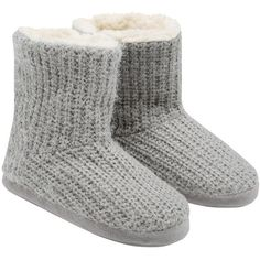 M&Co Knitted Slipper Boots (285 EGP) ❤ liked on Polyvore featuring shoes, slippers and grey