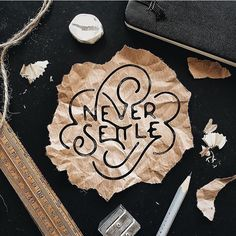 Never settle by @markvanleeuwn #Designspiration #design #creative #lettering - View more on http://ift.tt/1LVCgmr