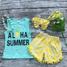 "LOWEST PRICE OF THE SEASON !! Our girls top quality boutique outfit ""Aloha Summer"" is mint and yellow with super trendy pom pom shorts! This girl's outfit is perfect for summer, a beach trip, vacation"