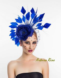 Royal Blue Fascinator Cocktail Hat Headpiece by ArturoRios on Etsy,