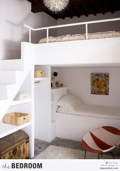 Built in bunk beds maximize use of space