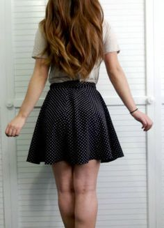 Beautiful style! Adorable with a hint of flirty...Navy w/ Beige Polka Dot Skirt