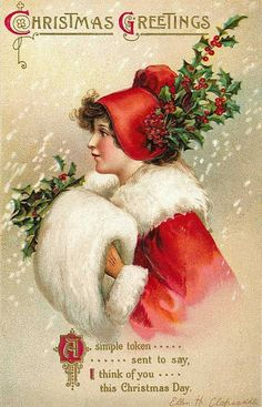 This is a beautiful Victorian Christmas postcard is one of my favorite images She's so lovely and the holly and muff are the perfect finishing touches! Holiday Images, Vintage Christmas Images, Old Christmas, Old Fashioned Christmas, Victorian Christmas, Vintage Holiday, Christmas Pictures, Christmas Greetings, Holiday Cards