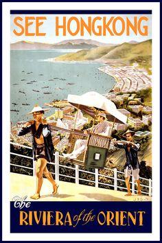1935 See Hong Kong - Vintage Style British Travel Poster - Photo Postcards, Vintage Postcards, Vintage Ads, Vintage Images, Vintage Style, Retro Poster, Vintage Travel Posters, Travel Ads, Travel Photos