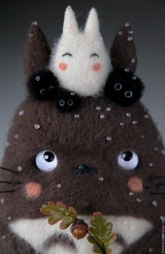 So adorable! Needle felted Totoro