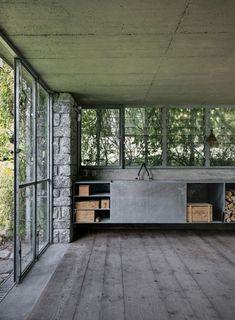 garden pavilion, interior design in industrial style