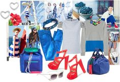"""""""Blue & Coral"""" by cherieaustin ❤ liked on Polyvore"""