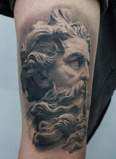 Neptune Tattoo by Darwin Enriquez. Love the realism of this!