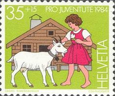 Johanna Spyri's Heidi gets a place in philatelic history with this Swiss stamp, issued in 1984
