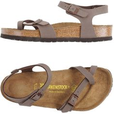 Birkenstock Thong Sandal ($119) ❤ liked on Polyvore featuring shoes, sandals, khaki, khaki shoes, birkenstock sandals, toe thongs, birkenstock footwear and buckle sandals