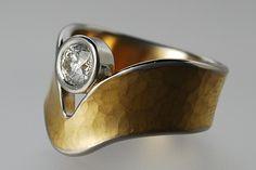 Ring | Michael Couper. 24ct gold, diamond, platinum