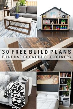 30 free build plans using pocket hole joinery. 30 free build plans using pocket hole joinery. Looking for woodworking projects that use a KregJig? Here are 25 completely free and completely awesome plans for you to choose from! Woodworking For Kids, Beginner Woodworking Projects, Popular Woodworking, Woodworking Furniture, Furniture Plans, Woodworking Crafts, Woodworking Tools, Kreg Tools, Woodworking Jigsaw