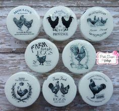 White Chicken Rooster Knobs Kitchen Drawer Pulls Paris Shabby