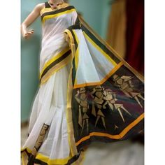 Nowadays everybody used to wear Kerala traditional saree to be special in their best days, we introduce most mesmerizing hand painted traditional saree with a new look. This is pure cotton fabric having golden color people vector design hand painted with Kerala Traditional Saree, Saree Painting Designs, Kasavu Saree, Kerala Saree, Vector Hand, Golden Color, Paint Designs, Vector Design, Black Backgrounds