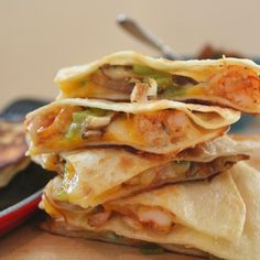 Smoked Mushroom And Shrimp Quesadilla With Adobo Chile Salsa - oh yeah, babe...