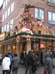 Exterior of the Kathe Wohlfahrt Store in Nuremberg along the path of the Christmas Market.