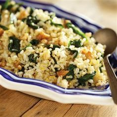 Brown Rice with Sauteed Spinach, Lemon and Garlic
