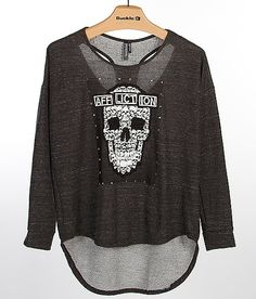Affliction Black Premium Priscilla Top - Women's Shirts/Blouses in Silver Affliction Clothing, Women's Shirts, Wisconsin, Skulls, Graphic Sweatshirt, Blouses, My Love, Sweatshirts, My Style