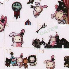 cute Sentimental Circus rabbit calendar stickers