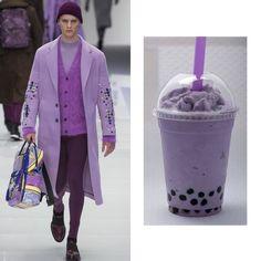 Versace Fall 2016 X taro milk bubble tea  #versace #menswear #taro #bubbletea #foodforfashion by fffzine