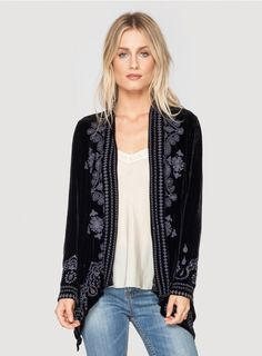 Johnny Was Clothing JWLA Plus Size Everly Embroidered Velvet Long Sleeve Drape Cardigan in Black