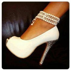 White sexy high heels bling! #sexy #highheels #whiteshoes