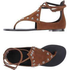 Giuseppe Zanotti Design Toe Post Sandal ($350) ❤ liked on Polyvore featuring shoes, sandals, brown, brown leather sandals, studded sandals, brown thong sandals, ankle strap flat sandals and ankle strap sandals