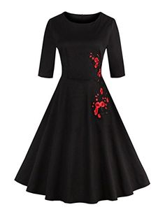 GlorySunshine Womens Scoop Neck 12 Sleeve Embroidery Knee High Dress Black L *** Be sure to check out this awesome product.