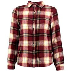 Boohoo Petite Lucie Flannel Check Shirt ($26) ❤ liked on Polyvore featuring tops, long sleeve crop top, red shirt, red flannel shirt, long-sleeve shirt and long sleeve shirts