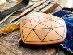 OhMyAmpersand | Geometric Brooch #woodburning #pyrography #jewelry #brooch #wooden #handmade #wood #geometric