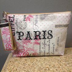 Paris make up bag-cosmetic bag-paris print with key fob by Melvashomemadeshop on Etsy