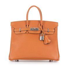 Hermes Pre-Owned Hermes Orange Epsom Birkin 25cm Bag ($11,250) ❤ liked on Polyvore featuring bags, handbags, orange, red leather handbags, orange purse, genuine leather purse, red leather purse and hand bags