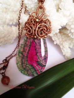 Unique pink  green dragon veins agate pendant wire by jewelryshore