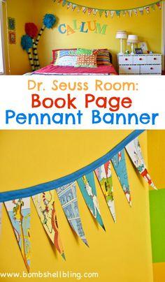 Dr Seuss Book Page Pennant Banner Dr. Seuss book page pennant banner Dr. Seuss, Dr Seuss Week, Lorax, Dr Seuss Crafts, Dr Seuss Baby Shower, Pennant Banners, Classroom Themes, Classroom Displays, Preschool Classroom