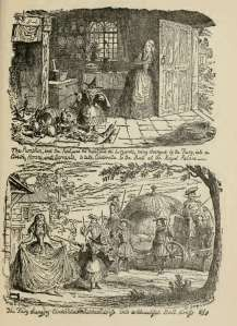 From Cinderella and the Glass Slipper, George Cruikshank (1792-1878).  Look closely for the diminutive Fairy Godmother in pointed hat.