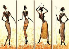 African Girls Dance In Gold-Modern Canvas Art Wall Decor-Abstract Oil Painting Wall Art with Stretched Frame Ready to Hang Modern Canvas Art, Abstract Canvas Art, Oil Painting Abstract, Canvas Wall Art, African Artwork, African Paintings, Afrique Art, African Girl, Painting Wallpaper