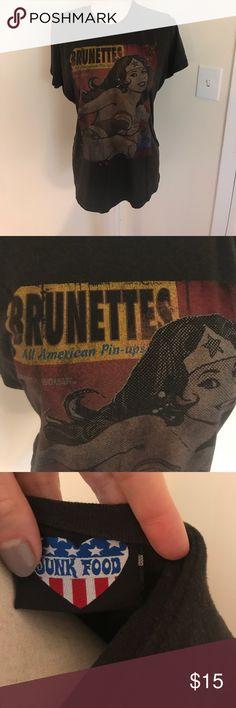 """Junk food Wonder Woman tee Pre loved. """"Brunettes all American pin ups"""" Junk Food Tops Tees - Short Sleeve"""